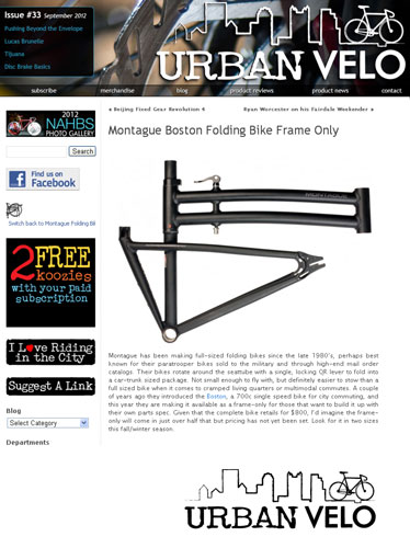 Urban Velo Montague Frame Feature