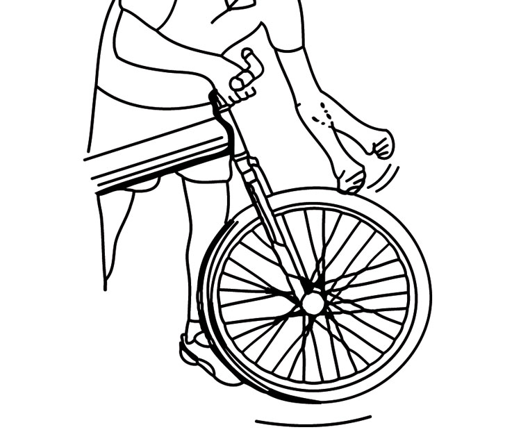 Fig. 16: Strike the wheel in a downward motion.