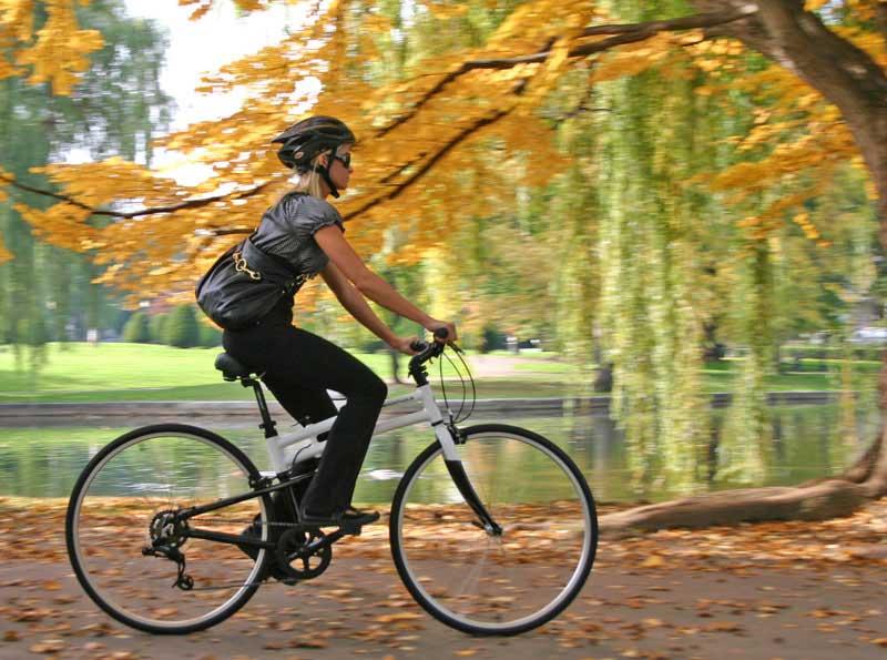 woman riding crosstown folding bike