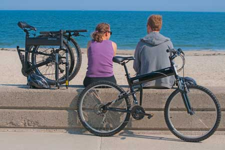Folding Bike at Beach Summer Vacation