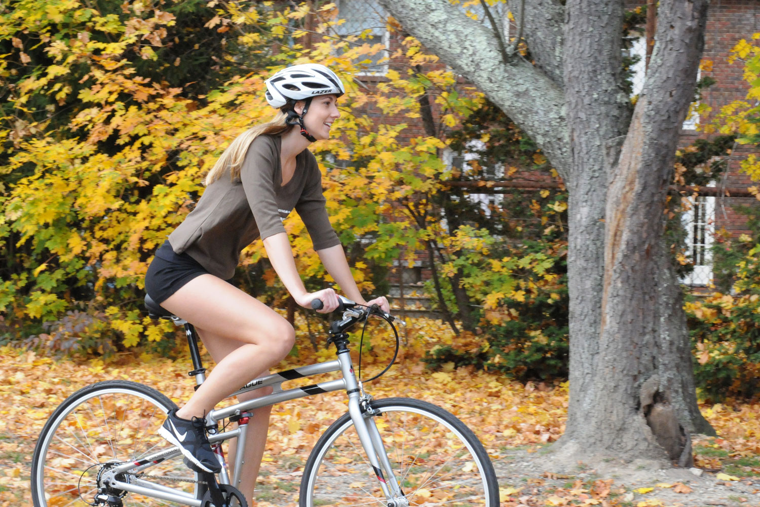 Montague Crosstown woman riding in autumn