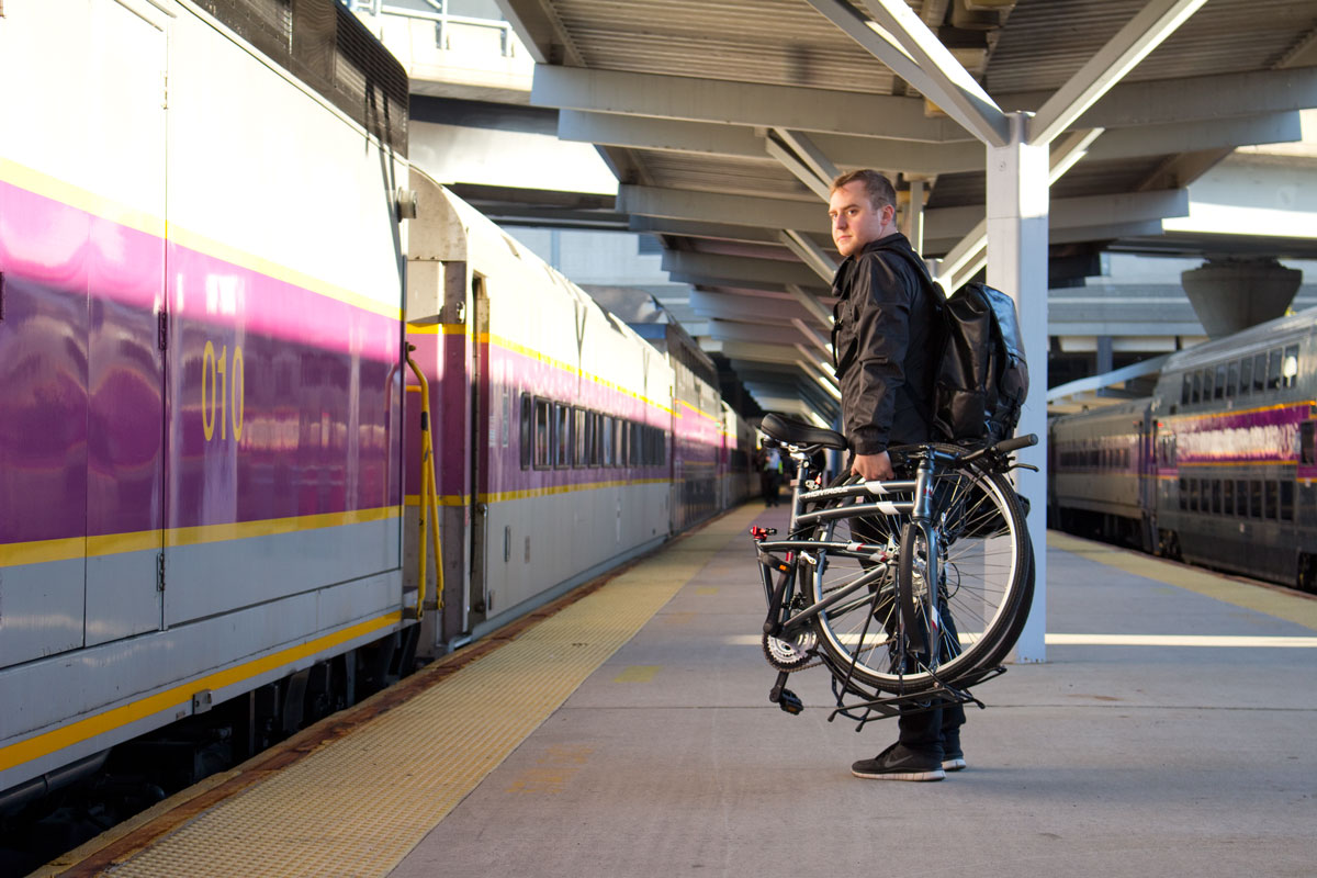 Montague Urban folding bike carried onto train