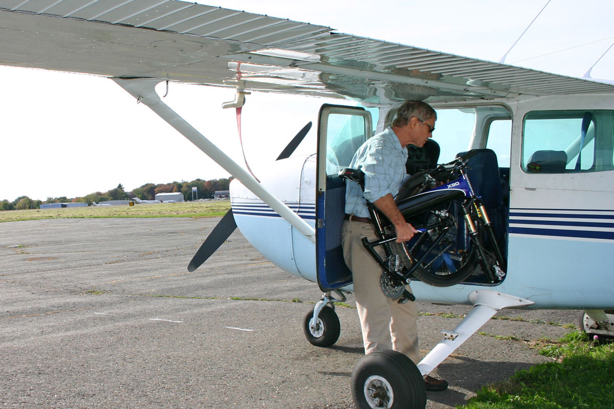 Montague Folding Bike into Aircraft