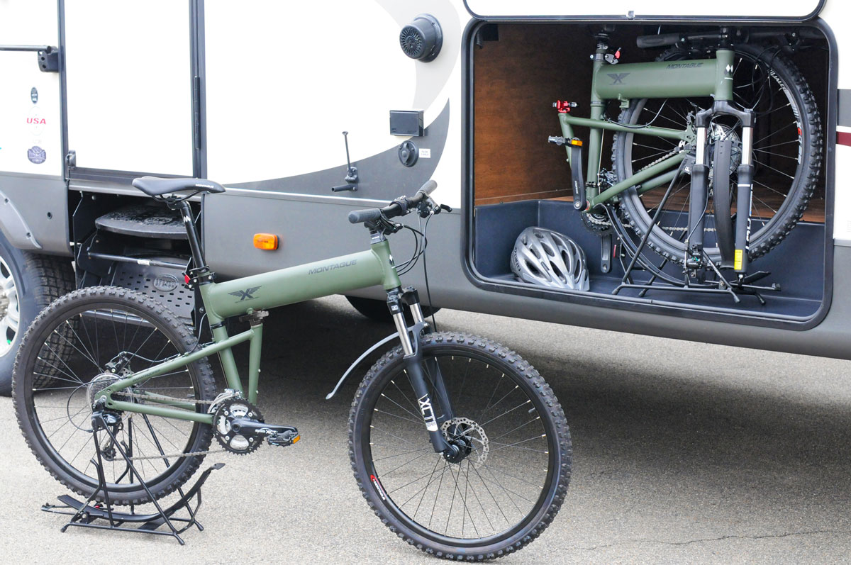 Montague Paratrooper folding mountain bike in RV
