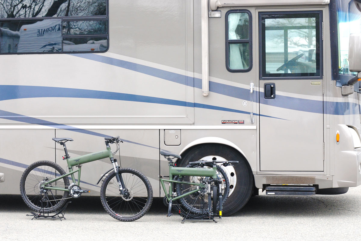 Montague Paratrooper folding bike in rv