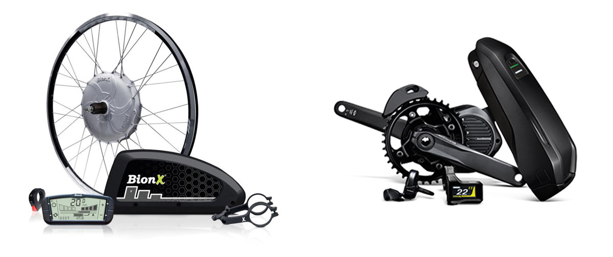 Electric bicycle hub motor compared to mid-drive system