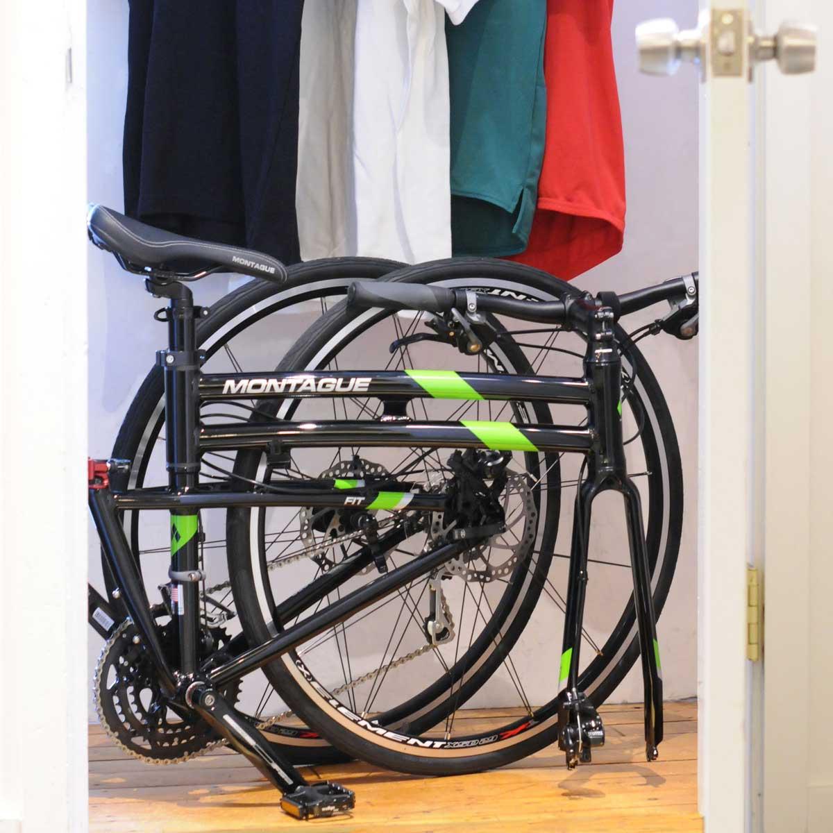 Montague Fit Folding Bike In Closet Sm